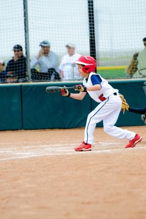 공을 번트에 대한 리틀 리그 야구 소년.