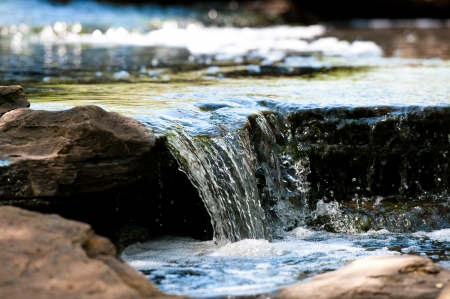 upclose: Up-close view of stream waterfall