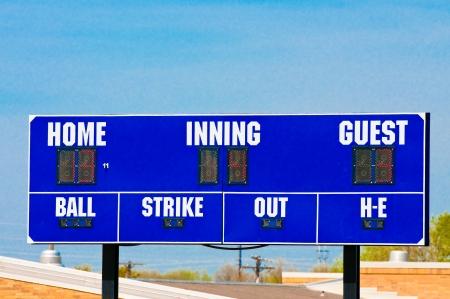 scoreboard: Baseball scoreboard with blue skky in the background.
