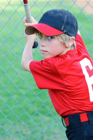 Portrait of Little league baseball player. photo