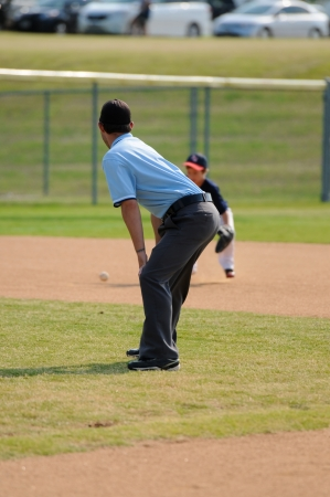 Youth baseball umpire on field during a game.