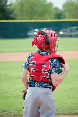 baseball catcher: Youth little league baseball catcher during a game. Stock Photo