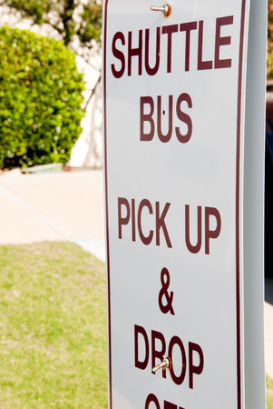 drop off: Sign for shuttle bus pick up and drop off