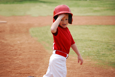 little league: Little league baseball player during a game. Stock Photo