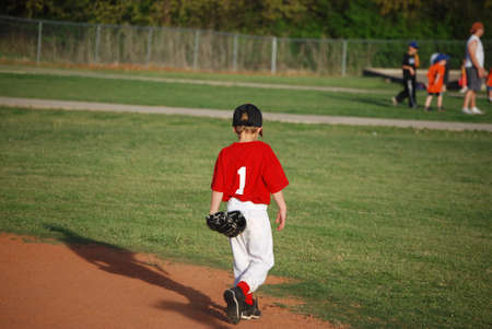 little league: Cute little league baseball player walking on field from behind.