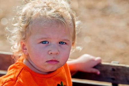carreta madera: Retrato de una ni�a peque�a de pelo rizado adorable que se sienta en un carro de madera.