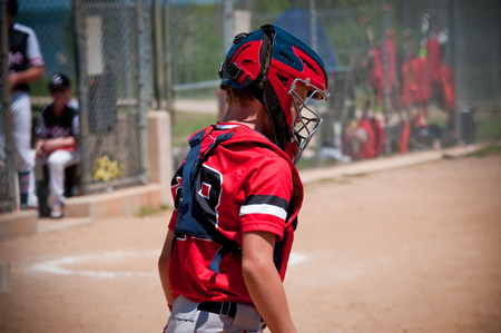 baseball catcher: American youth baseball catcher wearing protection gear and mask.