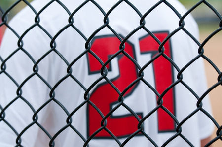 whie: Close up of a baseball fence with white  uniform in background.