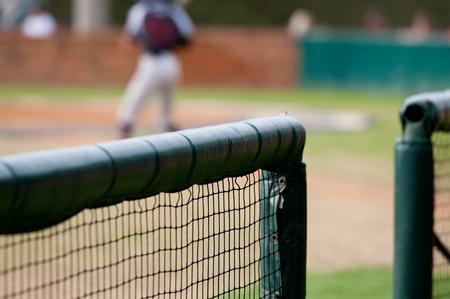 Close up of baseball dugout net