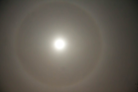 breath taking: Ice crystals around the moon Stock Photo