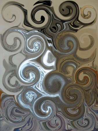 Artistic Swirls in colors of gold tan black silver and other muted colors