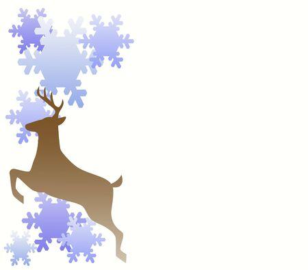 Reindeer jumping through Snowflakes