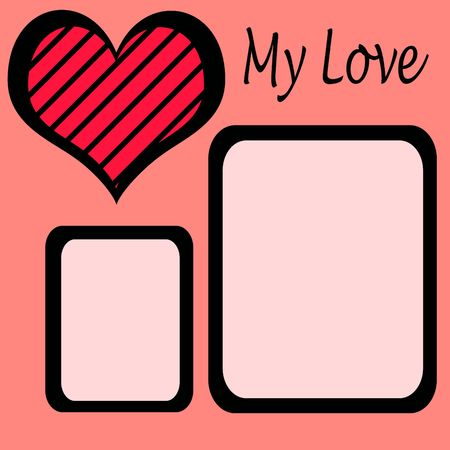 Valentines Day scrapbook sheet with heart Stock Photo