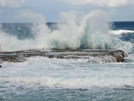 Barbados water splashing Stock Photo