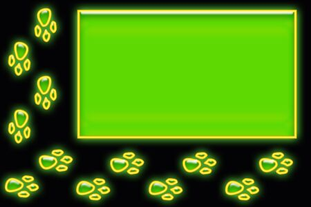 Paw Print border around a neon green box