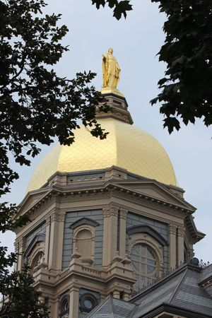 The Notre Dame Golden Dome in the summer