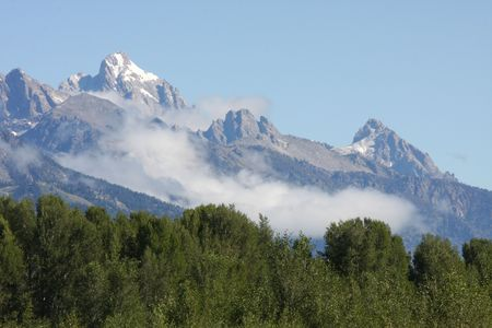 Grand Teton Mountain Range in Jackson Hole Wyoming photo
