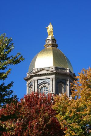 notre: The Notre Dame Golden Dome in Fall