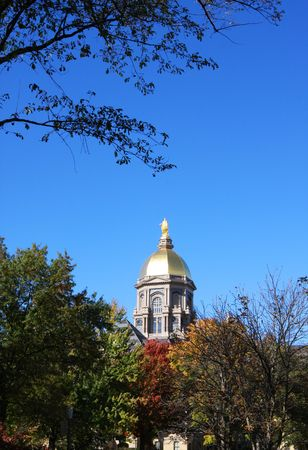 The Notre Dame Golden Dome in Autumn