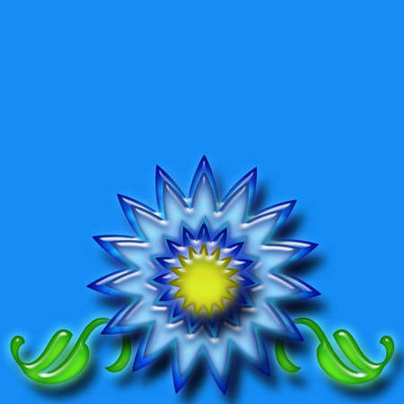 Blue flower and leaves over a blue background photo