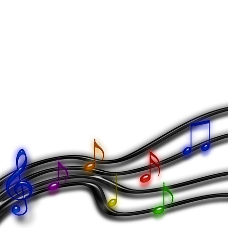 A musical staff of rainbow notes over white