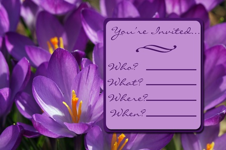 A lavendar Crocus Flower Invitation ready to print, fill out and send photo