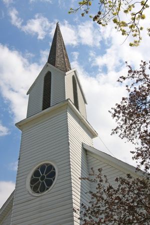 blue church: Historic St. Pauls Lutheran Church in Bremen Indiana