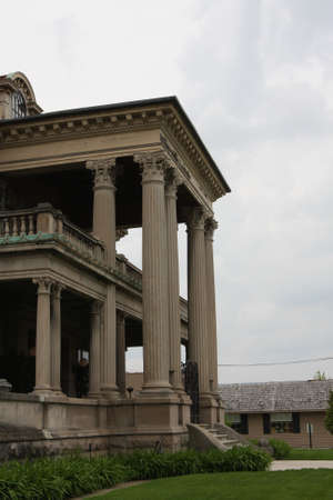 Historical architecture with concrete columns standing tall
