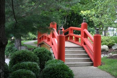 A Red Japanese Garden Bridge