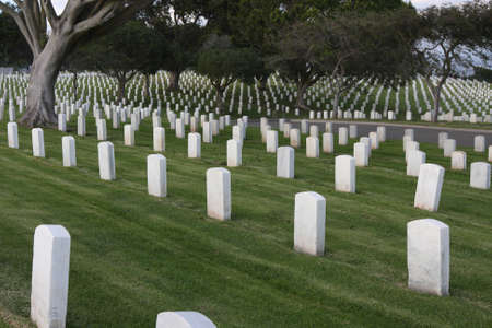 A hilly view of Fort Rosecrans National Cemetary in San Diego, California.