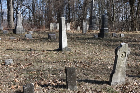 An old Cemetary in Plymouth Indiana in the woods. photo
