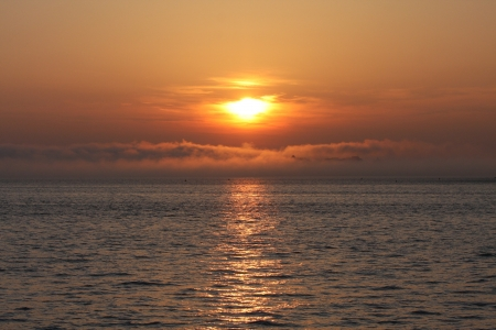 A New York Sunset on the Atlantic Ocean. Stock Photo