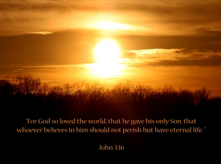 Sunset with Bible Verse John 3 16 For God So Loved The World Stock Photo