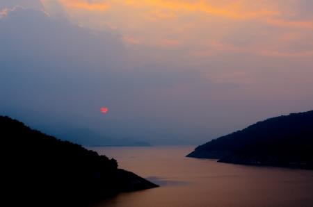 spiritless: Red sunset on the big blue mountain range