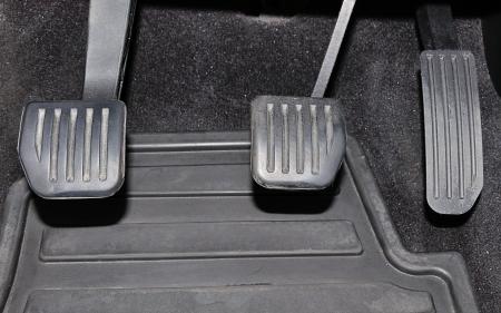 clutch: Car pedals (clutch, brake and gasaccelerator) Stock Photo