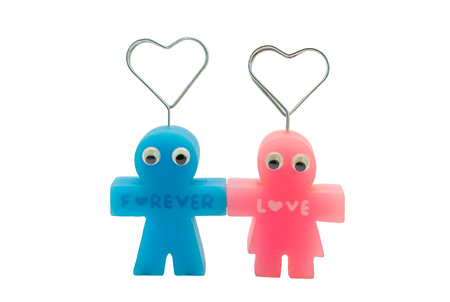 Cute Forever Love Couple Doll Magnetic Isolated White Background Stock Photo