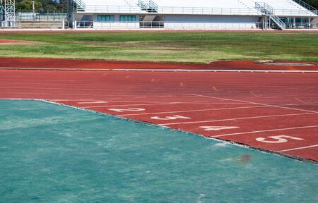 Red Rubber Competition Sport Track in Stadium Area