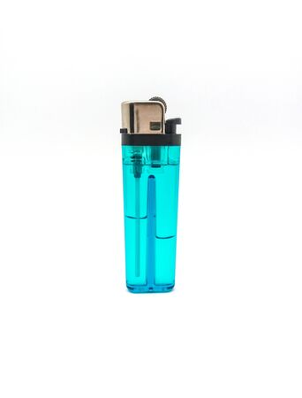 gas lighter: Clear Blue Gas Lighter on White Background