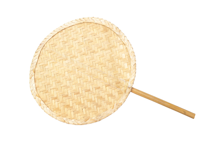 fan shaped: Asian Thai Round Shaped of Handmade Rattan Fan, Isolated Stock Photo