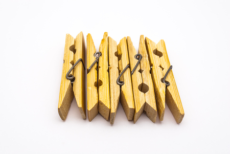 Closeup to Group of Clothes Clip, Isolated Stock Photo