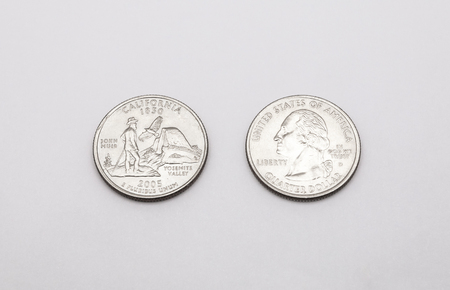 25 cents: Closeup to California State Symbol on Quarter Dollar Coin on White Background Stock Photo