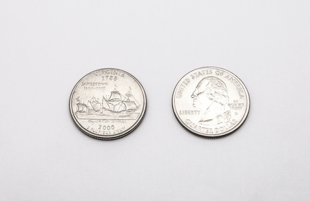 25 cents: Closeup to Virginia State Symbol on Quarter Dollar Coin on White Background Stock Photo