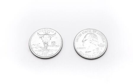 25 cents: Closeup to Montana State Symbol on Quarter Dollar Coin on White Background Stock Photo