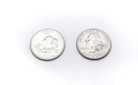 25 cents: Closeup to Kansas State Symbol on Quarter Dollar Coin on White Background Stock Photo