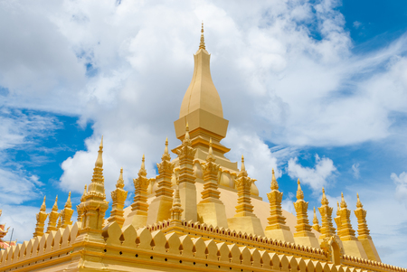 Closeup to Ancient Golden Pagoda Aged Over 400 Years in Vientiane, LAOS (Pha That Luang) Stock Photo