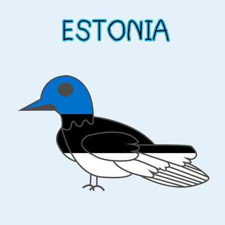 Color Imitation of Estonia Flag with Barn Swallow, National Animal
