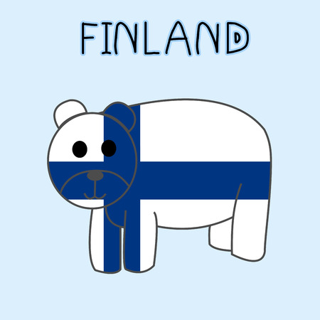 Color Imitation of Finland Flag with Bear, National Animal Illustration