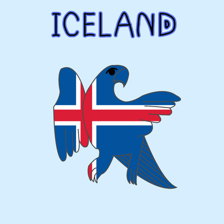 Color Imitation of Iceland Flag with Falcon, National Animal Illustration