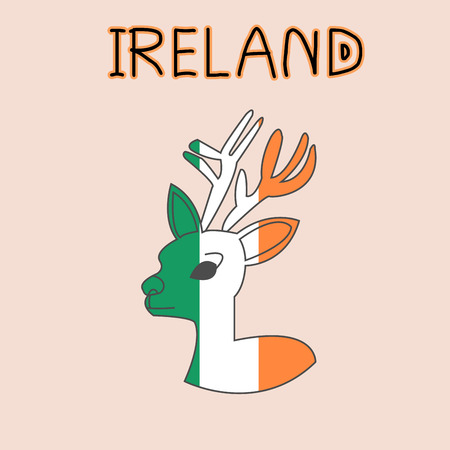 Color Imitation of Ireland Flag with Stag, National Animal