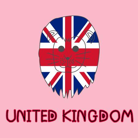 Color Imitation of United Kingdom Flag with Lion, National Animal Stock Photo